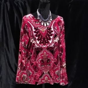 CHICO'S Red Vellour Top